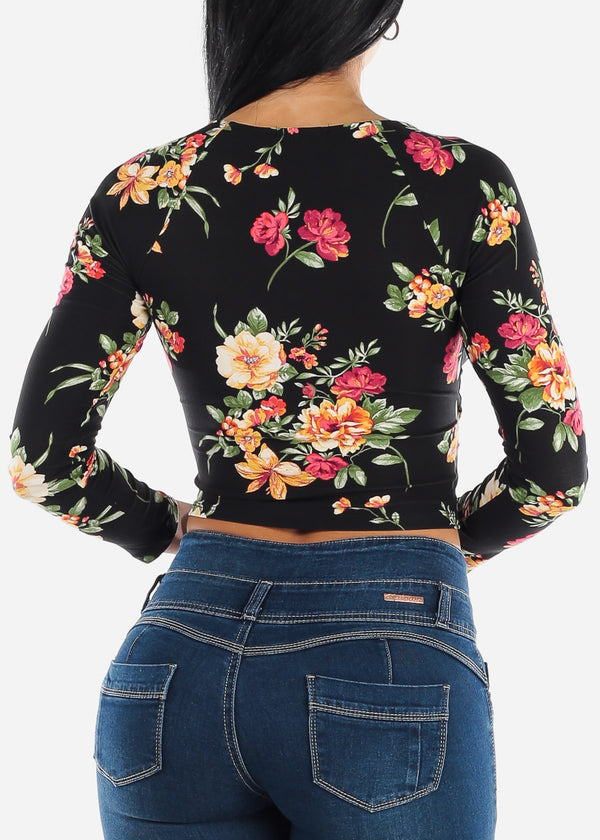 Black Floral Wrap Front Crop Top