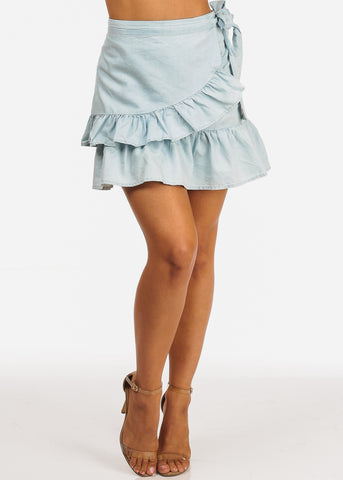 Image of Light Wash Ruffle Detail Side Tie Light Wash Denim Skirt