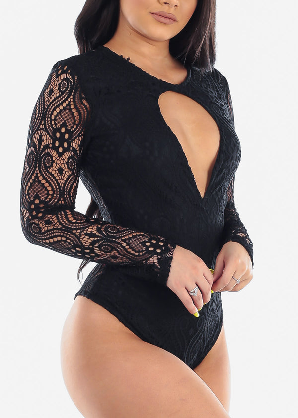 Women's Junior Ladies Sexy Hot Long Sleeve Keyhole Bust Neckline Floral Lace Solid Black Bodysuit For Party Night Out Clubwear