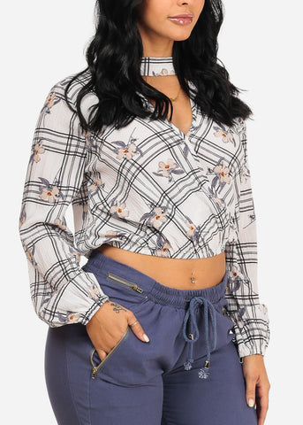 Stylish White Floral Plaid Crop Top