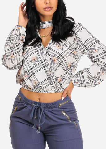 Image of Stylish White Floral Plaid Crop Top