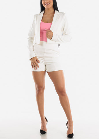 White Crop Blazer