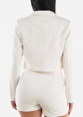 Image of White Crop Blazer