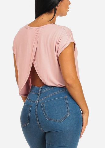 Casual Pink Crop Top W Pocket
