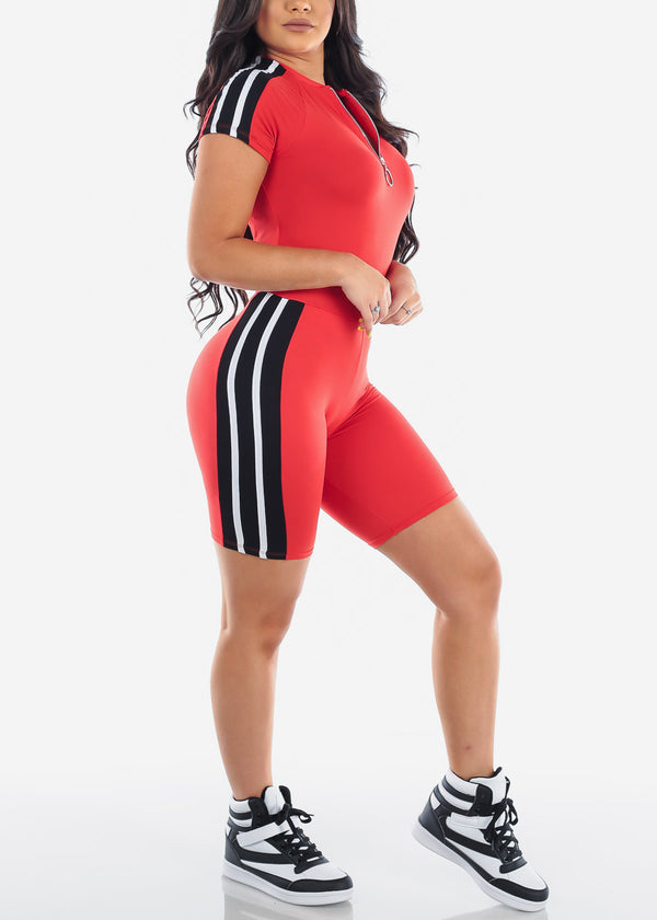 Sporty Red Top & Biker Shorts (2 PCE SET)
