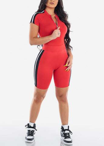 Sexy Stylish Tracksuit Yoga Running Gym Workout Going Out Two Piece Set Striped Top And Biker Bermuda Shorts