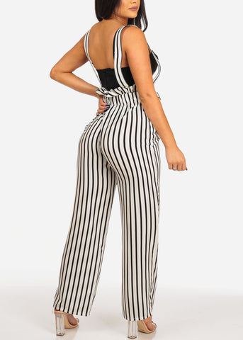 Women's Junior Ladies Summer Casual Beach Vacation Ruffle Detail White And Black Stripe Sleeveless Overall