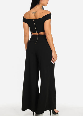 Black Crop Top W High Rise Pants (2 PCE SET)
