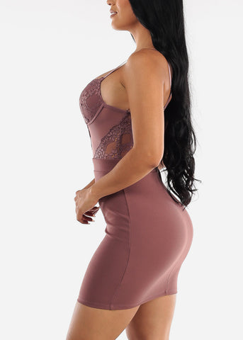 Sexy Floral Lace Mauve Bodycon Dress