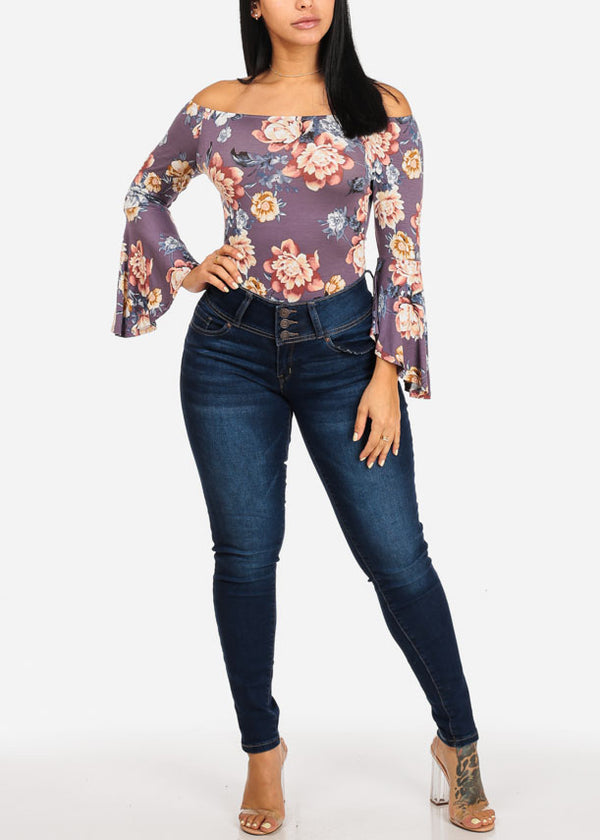 Stylish Floral Purple Bodysuit