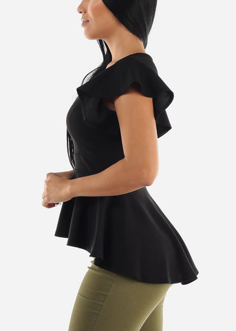 Round Neck Black Peplum Top