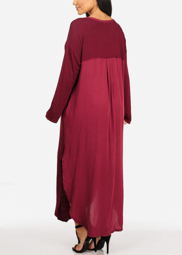 Flowy Side Slits Burgundy Maxi Dress