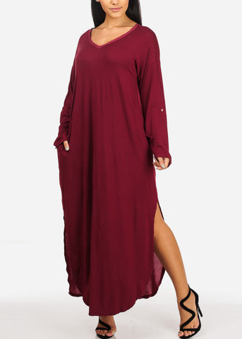 Image of Flowy Side Slits Burgundy Maxi Dress