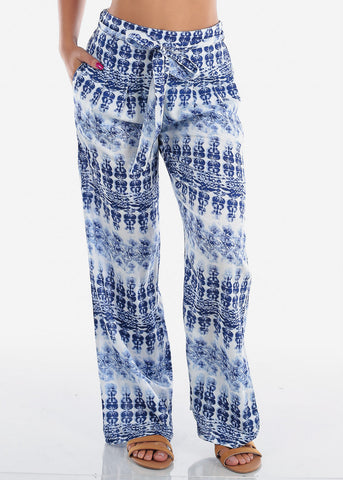 Blue & White Printed Wide Leg Pants