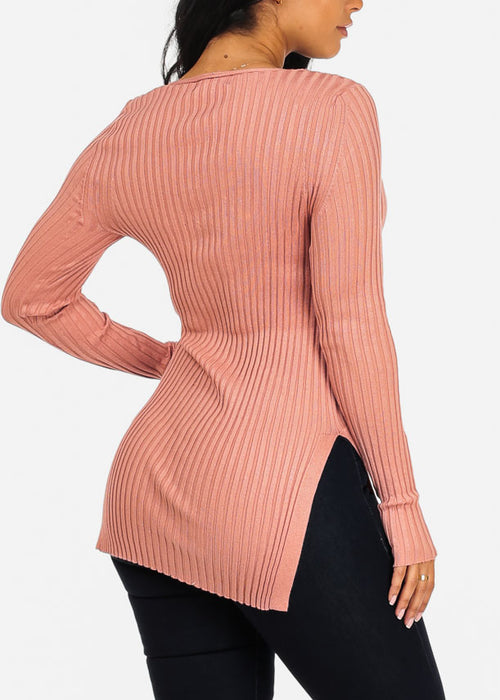 Stylish Knitted Mauve Sweater Top