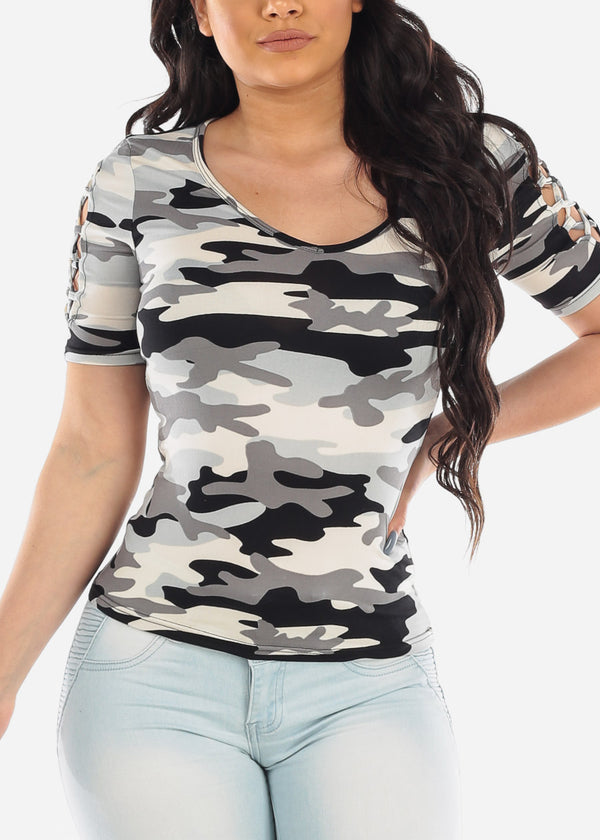Lace Up Detail Camouflage Top