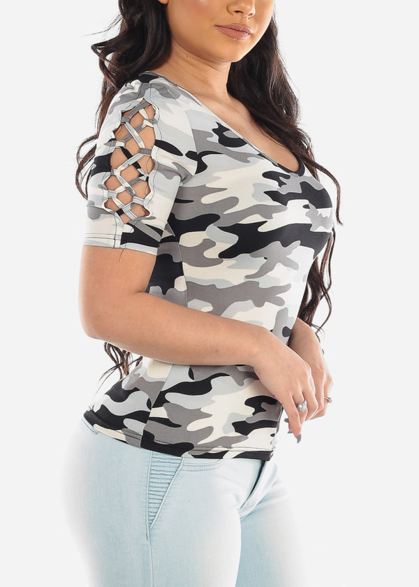 Casual Short Sleeve Camouflage Army Print Top With Lace Up Sleeves For Women Ladies Junior