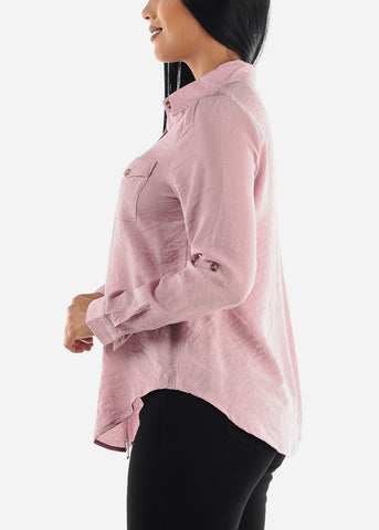 Image of Light Rose Long Sleeve Button Up Top