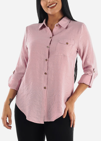 Light Rose Long Sleeve Button Up Top