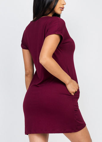 Cute Basic Burgundy Vneck Shirt Dress