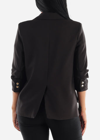 Image of Black Open Front Blazer
