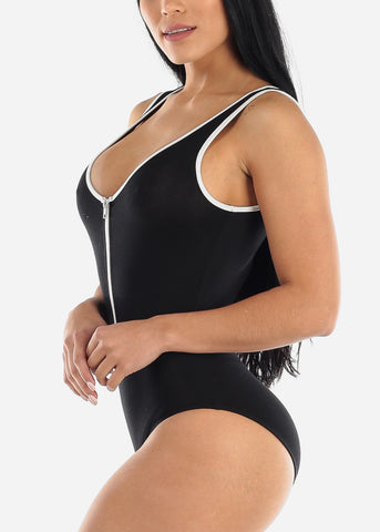 Zipper  Neckline Black Bodysuit
