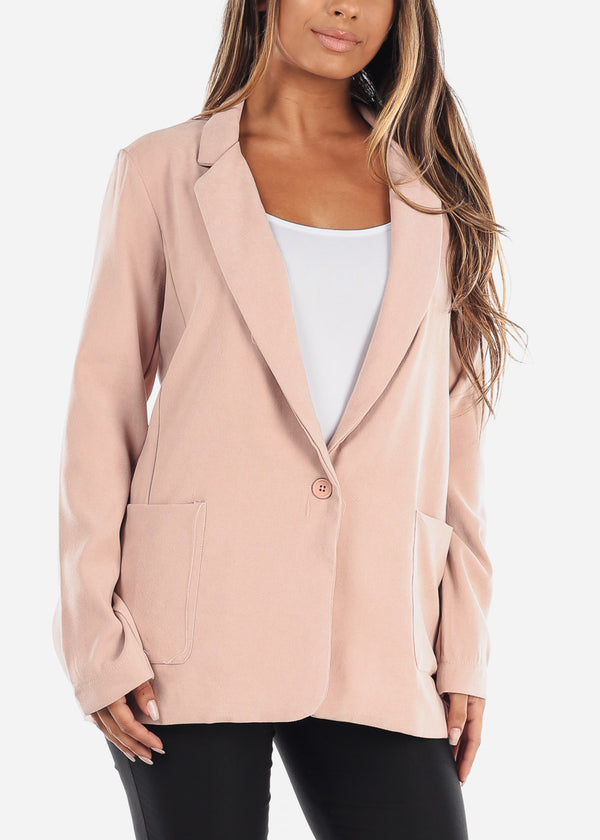 Trendy Oversized Pink Blazer W 2 Pockets