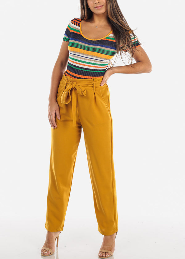 High Waisted Cinched Waist Mustard Dress Pants with Belt