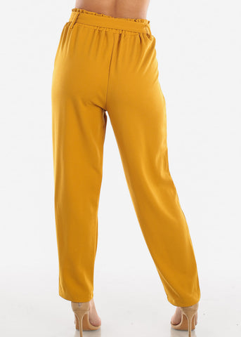 Image of High Waisted Cinched Waist Mustard Dress Pants with Belt