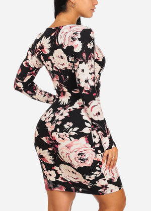 Two Tone Floral Slim Fit Dress