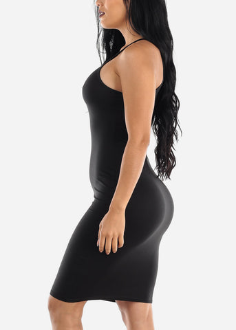 Image of Sleeveless Casual Black Bodycon Dress