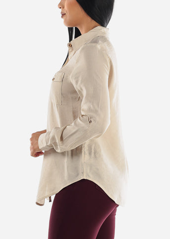 Image of Beige Long Sleeve Button Up Top
