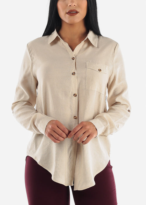 Beige Long Sleeve Button Up Top