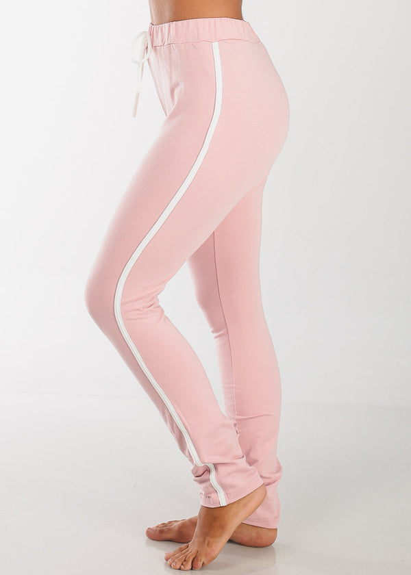 High Rise Stripe Sides Rose Pants