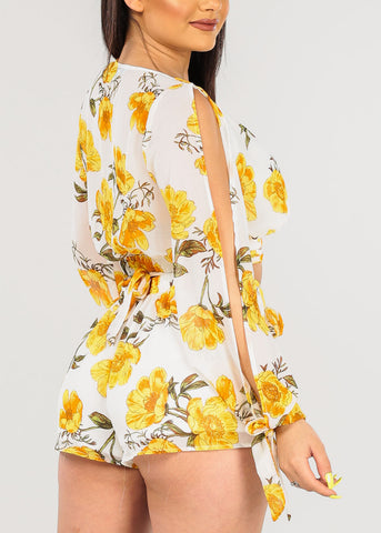 Image of Women's Junior Ladies Sexy Must Have Open Shoulder Wrap Front V Neckline Crop Top And High Rise Yellow And White Flowers Floral Chiffon Two Piece Set