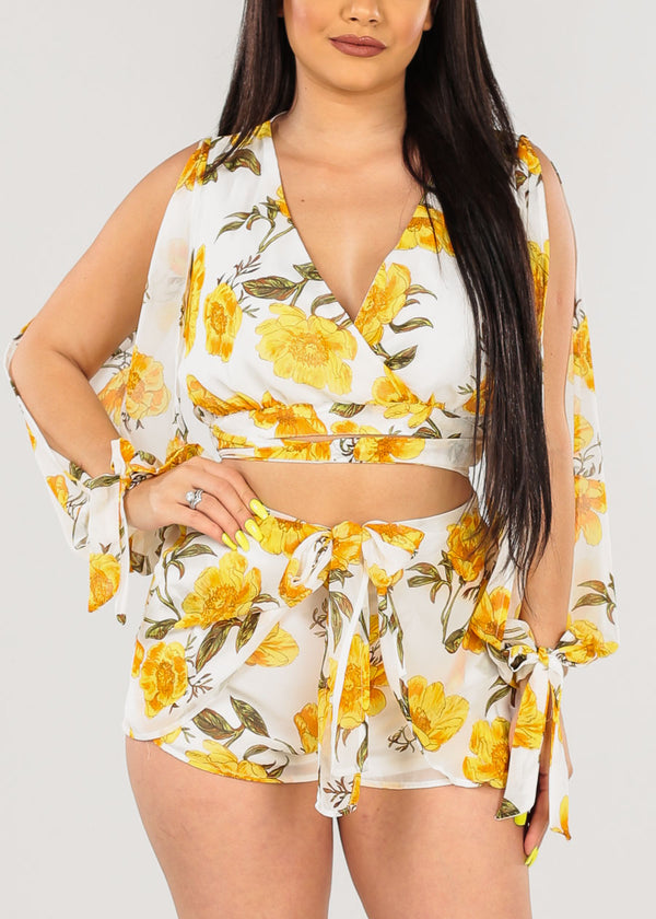 Yellow Floral Crop Top & Shorts (2 PCE SET)