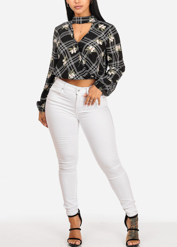 Stylish Black Floral Plaid Crop Top
