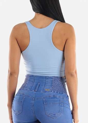 Image of Blue Sleeveless Crop Top