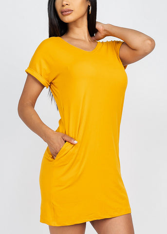 Cute Basic Gold Vneck Shirt Dress