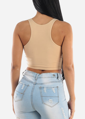 Image of Cute Khaki Crop Top