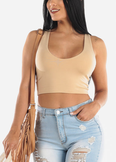 Cute Khaki Crop Top