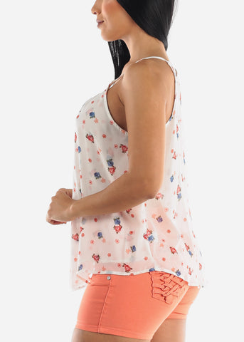 White Floral Sleeveless Casual Top