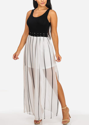 Casual Black and White Maxi Dress