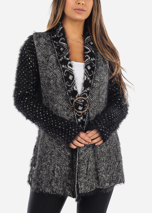 Black and White Mohair Furry Cardigan