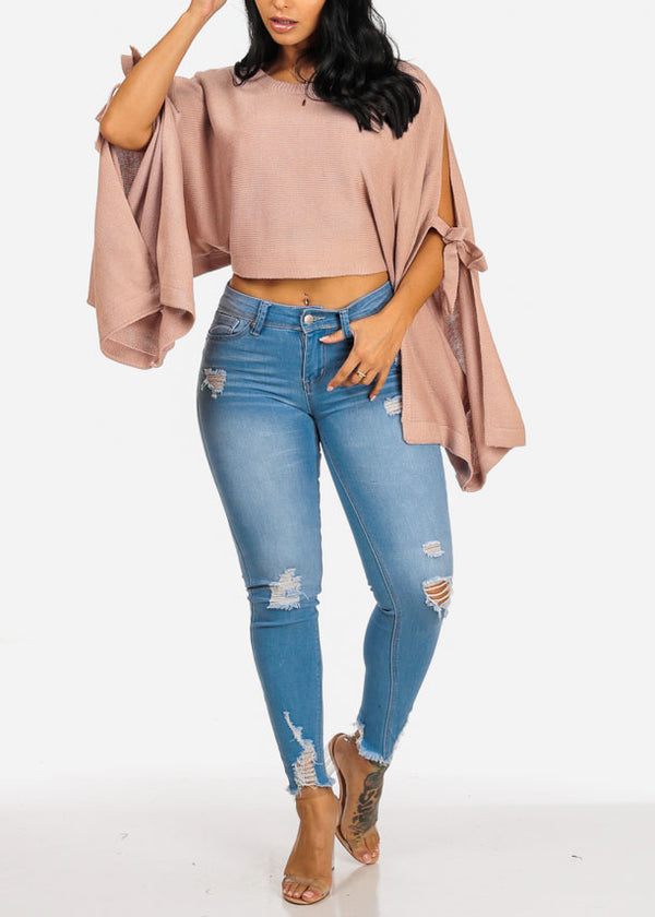 Cozy Knitted Pink Cropped Sweater Top