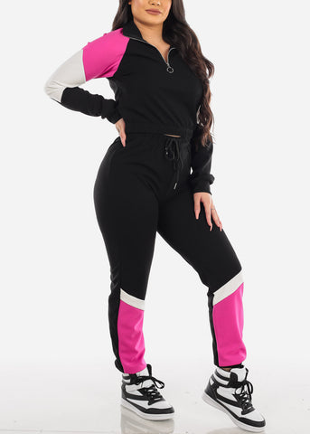 Image of Pink Colorblock Jacket & Joggers (2 PCE SET)