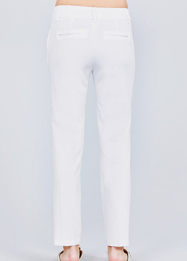 White Straight Leg Dress Pants