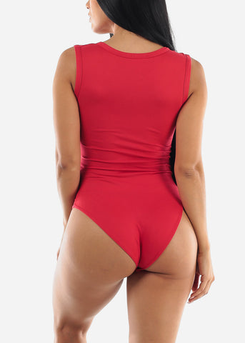 Red Vneck Cheeky Bodysuit