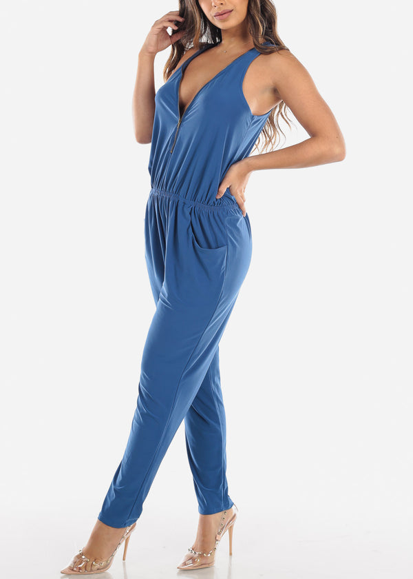 Zip Up Front Sleeveless Blue Jumpsuit