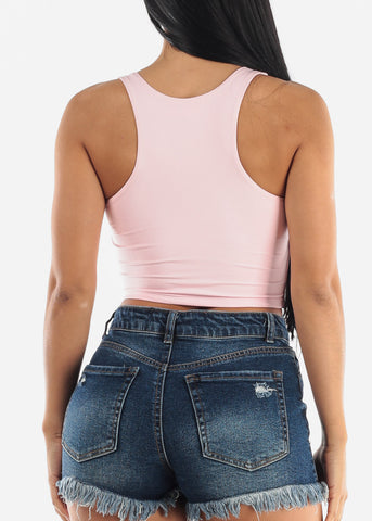 Pink Sleeveless Crop Top